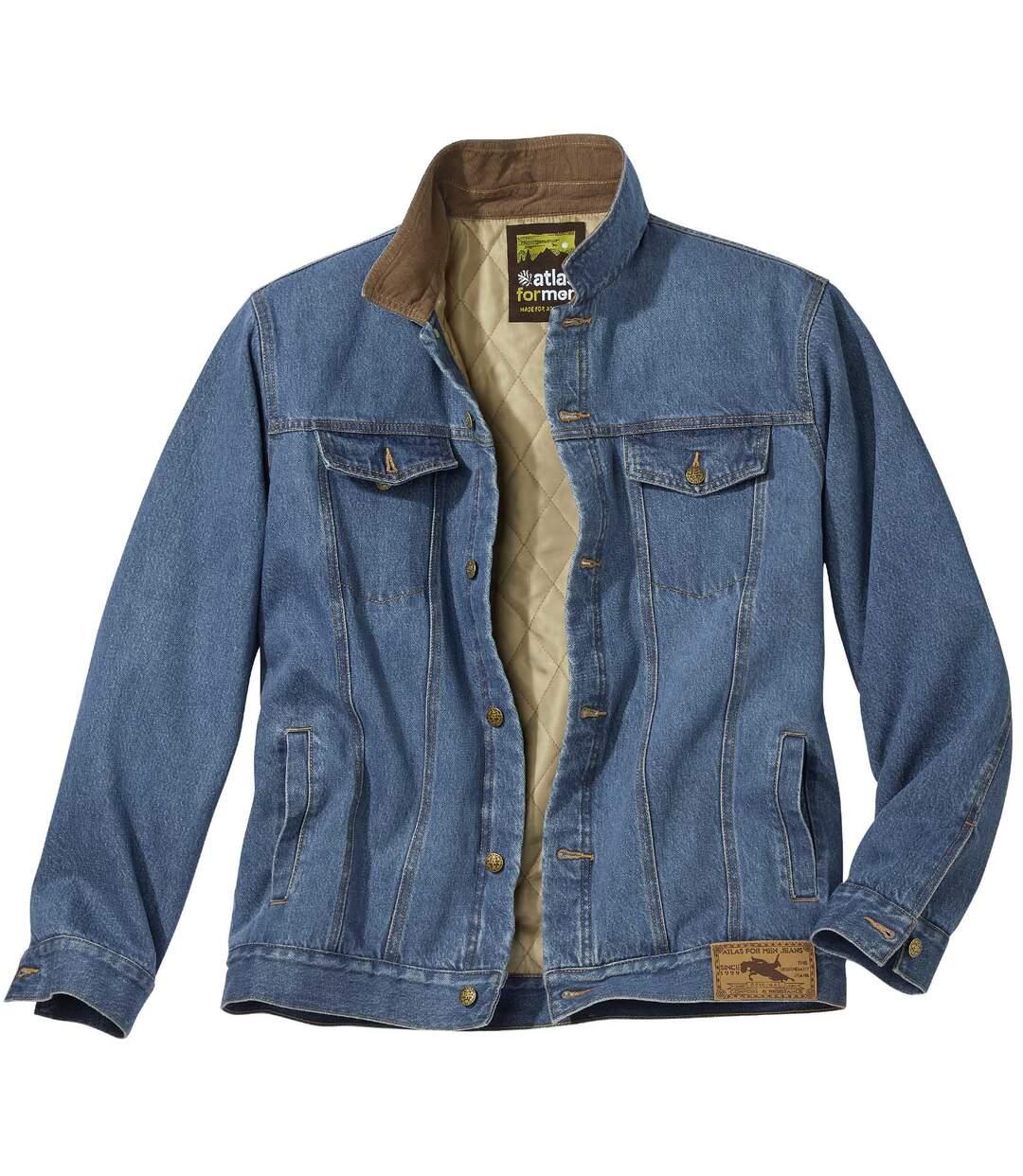 Men's Blue Quilted Denim Jacket Atlas For Men