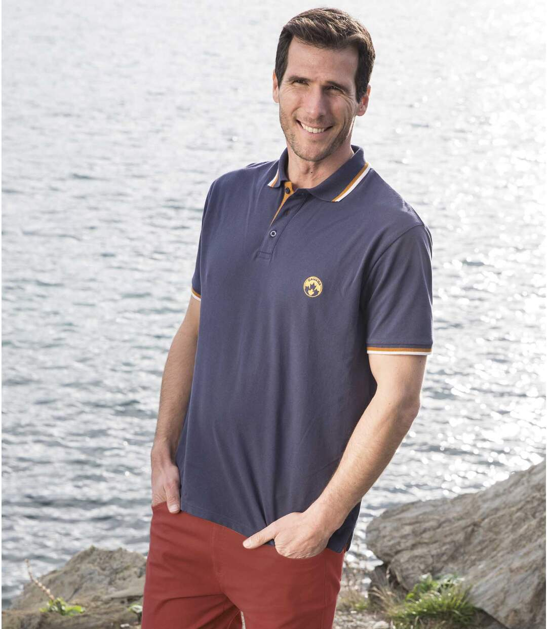 Pack of 2 Men's Piqué Polo Shirts - Navy Grey - Short Sleeves