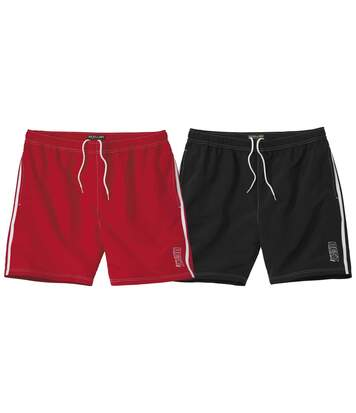 Pack of 2 Men's Microfibre Sports Shorts - Red Black