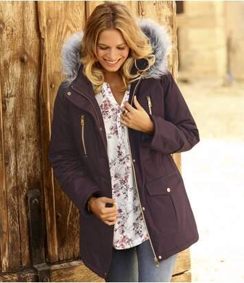 Modna kurtka zimowa z kapturem i imitacją futerka