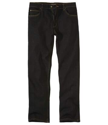 Schwarze Regular-Jeans mit Stretch-Effekt