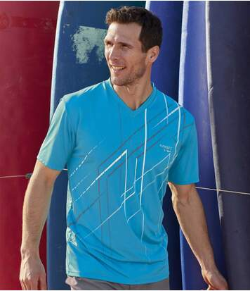 Pack of 3 Men's Sports Print T-Shirts - Grey Turquoise White