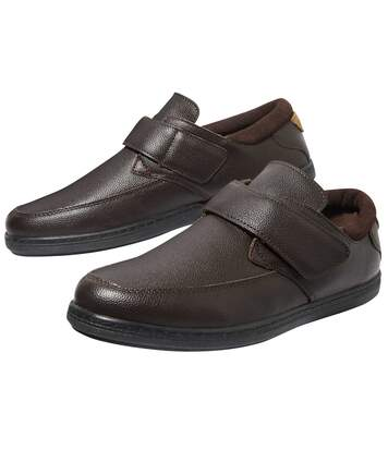 Men's Leather Hook-and-Loop Moccasins - Dark Brown