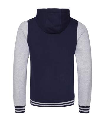 AWDis Just Hoods Adults Unisex Urban Varsity Full Zip Hoodie (Oxford Navy/ Heather Grey) - UTRW3938