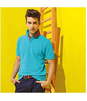 Asquith & Fox Mens Classic Fit Contrast Polo Shirt (Turquoise/ Red) - UTRW4810
