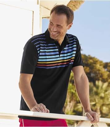 Pack of 2 Men's Summer Polo Shirts - Black White