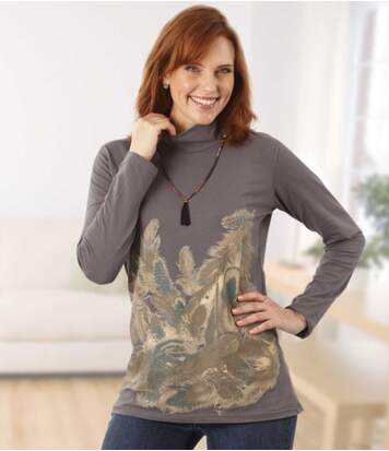 Women's Grey Funnel Jumper - Feather Motif