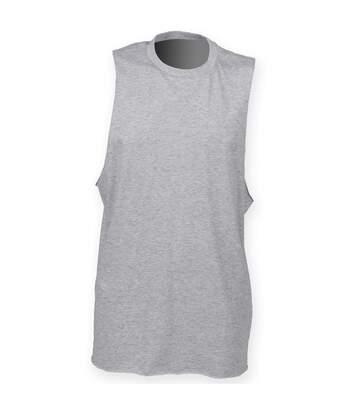 Skinnifit Mens High Neck Slash Armhole Vest (Heather Grey) - UTRW4739