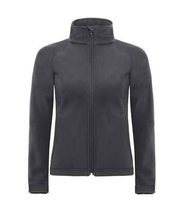 B&C Womens Hooded Premium Softshell Jacket (Windproof, Waterproof & Breathable) (Dark Grey) - UTBC2004