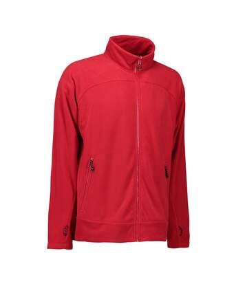 ID Mens Zip N Mix Active Fleece Jacket (Red) - UTID425