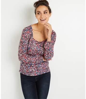 T-shirt fleuri col carré femme