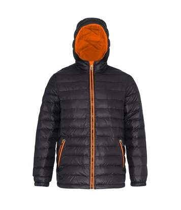 2786 Mens Hooded Water & Wind Resistant Padded Jacket (Black/Orange) - UTRW3424