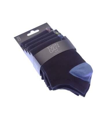 Chaussette Invisibles - Lot de 4 - Sans bouclette - Talon coloré - Coton - Noir