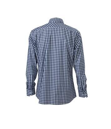 chemise manches longues carreaux vichy HOMME JN617 - bleu marine