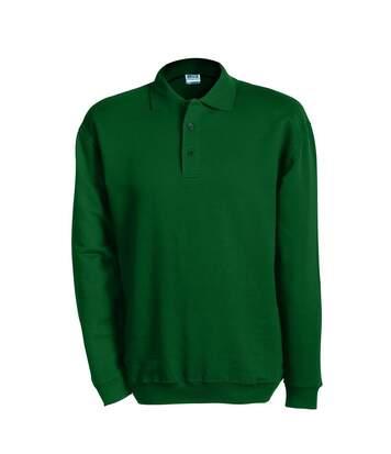 Sweat-shirt col polo - homme - JN041 - vert foncé