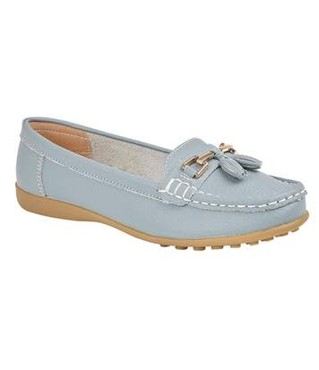 Boulevard Womens/Ladies Action Leather Tassle Loafers (Baby Blue) - UTDF1910