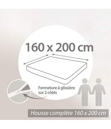 Housse de matelas imperméable Céline 160x200cm matelas 16 à 20cm