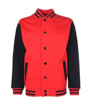 Veste style université américaine FV001 - rouge et noir - mixte homme femme