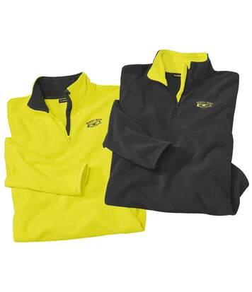 Pack of 2 Men's Outdoor Fleece Jumpers - Grey Yellow