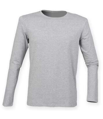 Skinnifit Mens Feel Good Long Sleeved Stretch T-Shirt (Heather Grey) - UTRW4736