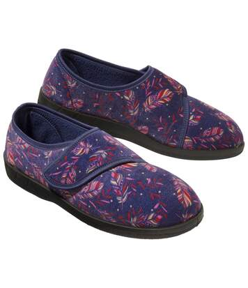 Women's Feather Print Fleece Slippers - Blue Patterned