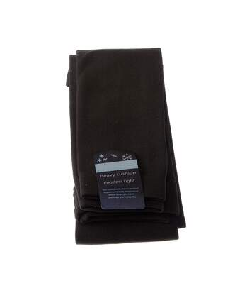 Legging chaud long - 1 paire - Unis simple - Ultra opaque - Mat - Gousset polyamide - Ski - Thermo - Noir - Polar