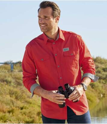 Men's Red Aviator-Style Shirt