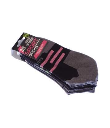 Chaussette Invisibles - Lot de 3 - Anti transpiration - Semelle bouclette - Rayures - Multisport - Fine - Noir - Sport socks
