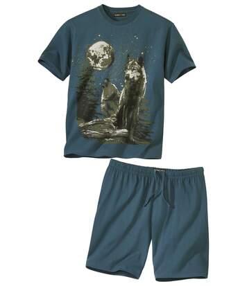 Kurzer Schlafanzug mit Wolfsmotiv