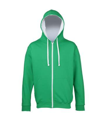 Awdis Mens Varsity Hooded Sweatshirt / Hoodie / Zoodie (Kelly Green/Arctic White) - UTRW182