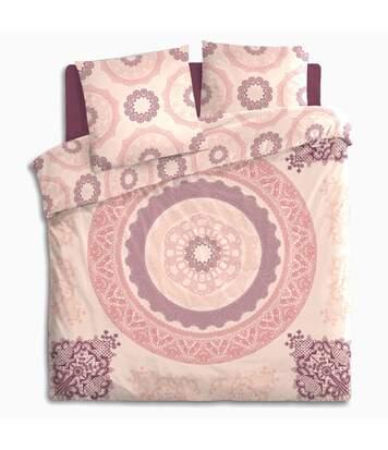 Atmosphera - Parure de lit 2 Personnes 240 x 220 cm Housse de couette avec 2 taies imprimé Mandala Rose