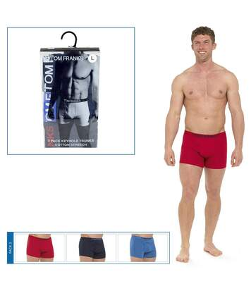 Tom Franks Mens Keyhole Boxer Shorts (3 Pairs) (Red/Blue/Navy) - UTUT558