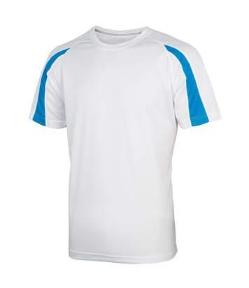 Just Cool Mens Contrast Cool Sports Plain T-Shirt (Arctic White/Jet Black) - UTRW685