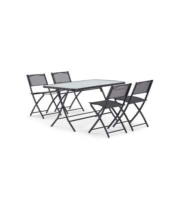 Table de jardin et 4 chaises pliantes en acier et verre, Calvi