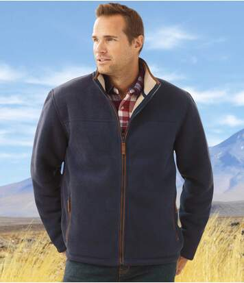 Men's Navy Blue Outdoor Fleece Jacket with Sherpa Lining - Full Zip