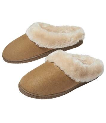 Women's Faux Fur-Lined Slippers - Beige
