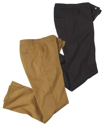 Pack of 2 Men's Casual Chinos - Black Camel