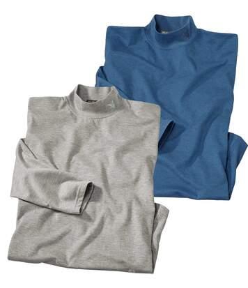 Pack of 2 Men's Turtleneck Long Sleeve Tops