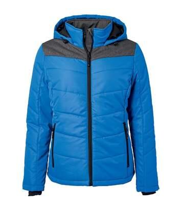 Veste matelassée à capuche - doudoune - JN1133 - bleu roi - femme