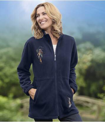 Women's Long Navy Zip Up Jacket - Fleece - Embroidered