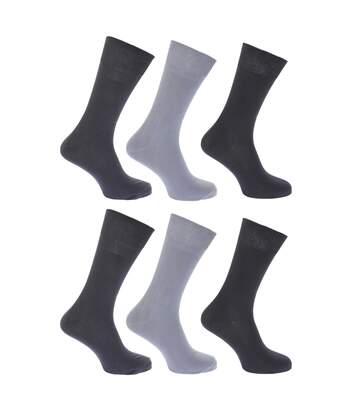 FLOSO Womens/Ladies Plain 100% Cotton Socks (Pack Of 6) (Shades of Grey) - UTW208