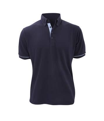 Kustom Kit Mens Button Down Contrast Short Sleeve Polo Shirt (Navy/Light Blue) - UTBC2687