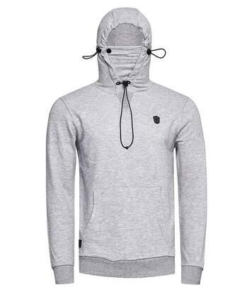 Sweat capuche gris clair avec masque tissu lavable amovible pour homme