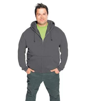 Veste sweat capuche zippée coton grandes tailles Hommes