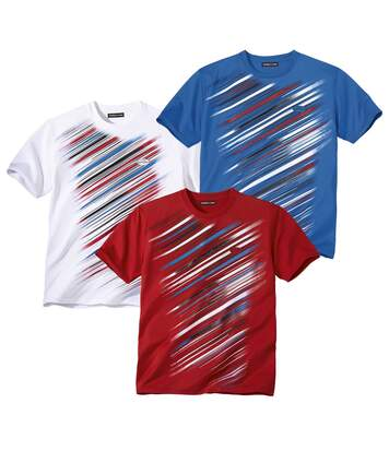Pack of 3 Men's Sports T-Shirts - Red Blue White