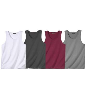 Pack of 4 Men's Montana Road Vest Tops - Burgundy White Grey