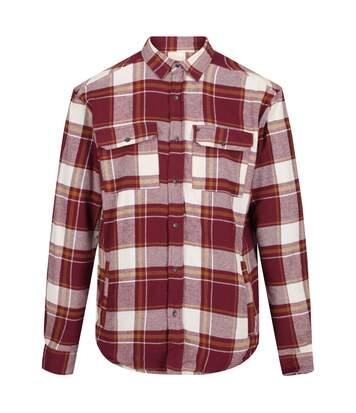 Regatta Mens Tygo Long Sleeved Checked Lined Shirt (Burgundy) - UTRG4601