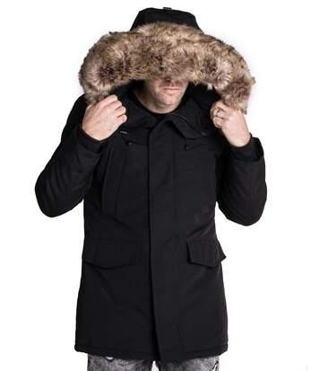 Parka Manteau long noir avec capuche fourrure beige synthétique