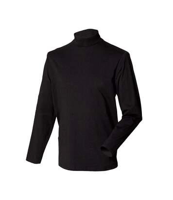 Henbury Mens Long Sleeve Cotton Rich Roll Neck Top / Sweatshirt (Black) - UTRW615