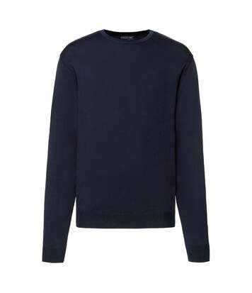 Russell Collection Mens Crew Neck Knitted Pullover Sweatshirt (French Navy) - UTRW6079